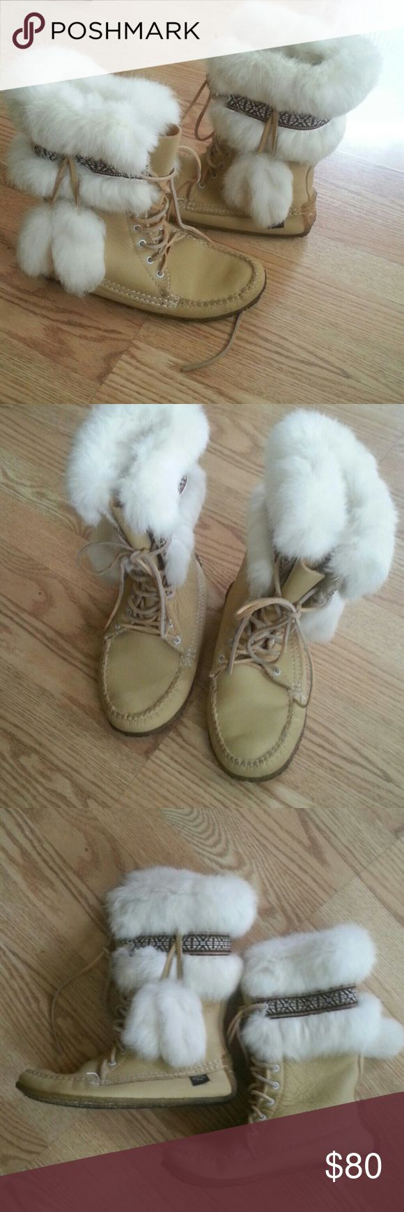 "Made in Canada, ,, mukluk winter boots Pre owned ,Laurential chief,,,, great condition, native American handmade boots, real ,,Indian style""beige leather and real white rabbit  fur, ,,,the size show 6, but is larger I would say 7! Shoes Ankle Boots & Booties"