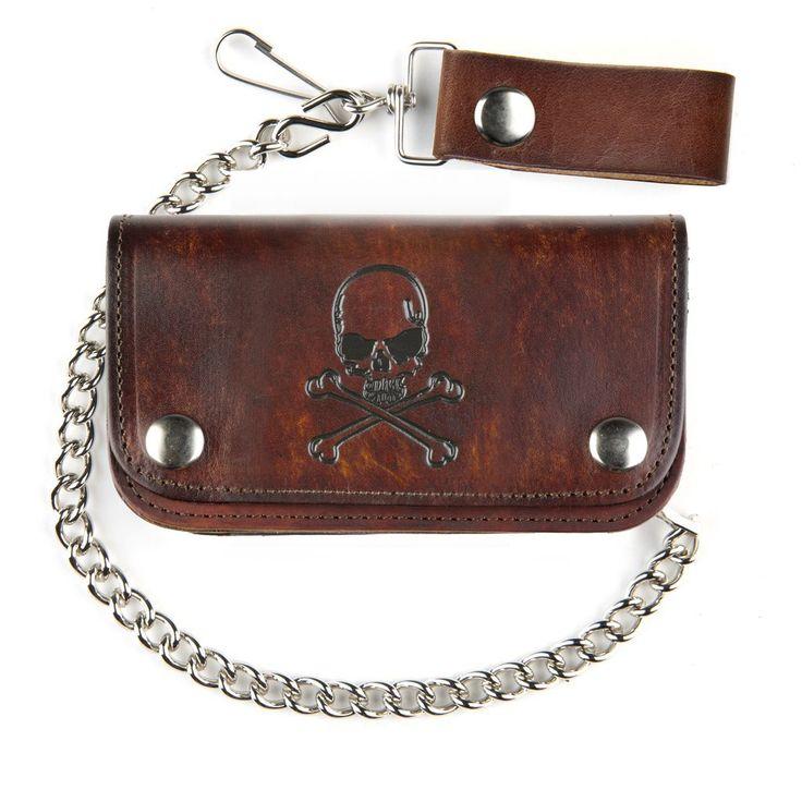 "Purple Leopard Boutique - 6"" Men's Antiqued Brown Leather Wallet with Chain Skull and Crossbones Design, $29.00 (http://www.purpleleopardboutique.com/6-mens-antiqued-brown-leather-wallet-with-chain-skull-and-crossbones-design/)"