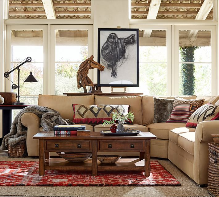 Pearce Upholstered 2pc L Shaped Sectional Down Blend Wrapped Cushions Performance Everydaysuede Tm Stone Sectional Living Roomsliving