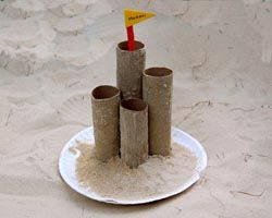 Sand Castle with Paper Towel Tubes! Quick and easy :) Try with some multi colored sand!