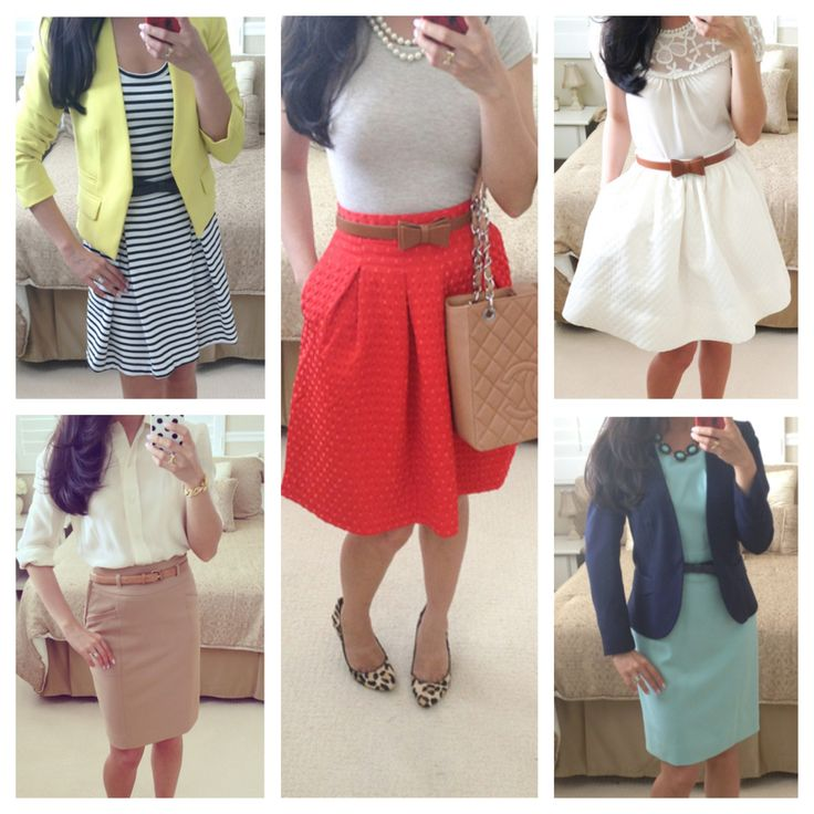 Dressy and classy work outfits - perfect for warmer weather in Spring or Summer!   // Details here: http://www.stylishpetite.com/2013/07/part-2-summer-work-outfits.html