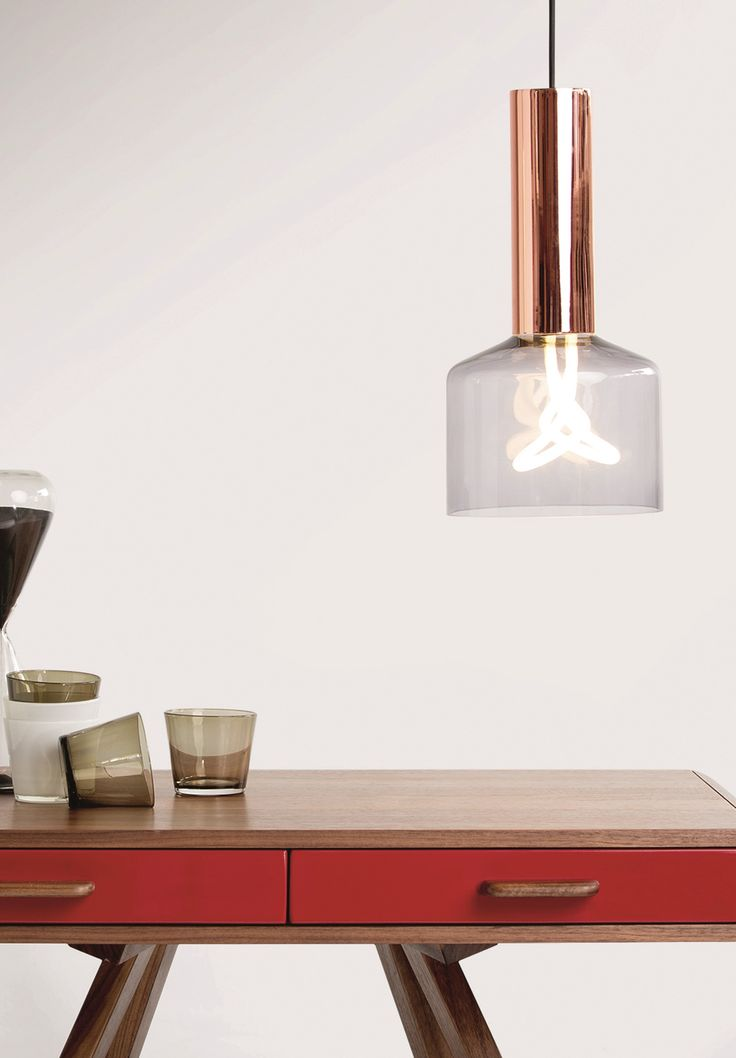 Rehm Pendant Light and Plumen 001 Bulb, in Smoke Grey and Copper. £99. MADE.COM