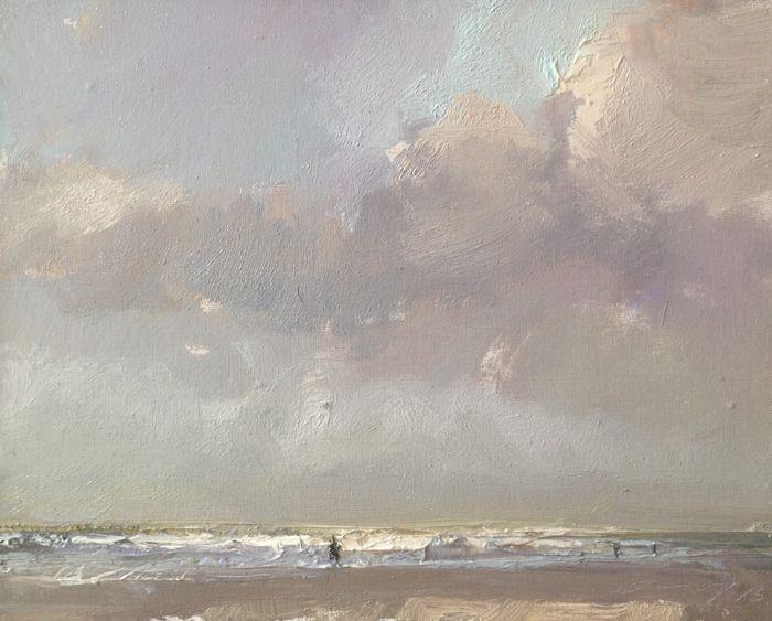 Roos Schuring, sw05 lit waves, Olieverf op paneel in grijze lijst, 24x30 cm, €.850,-