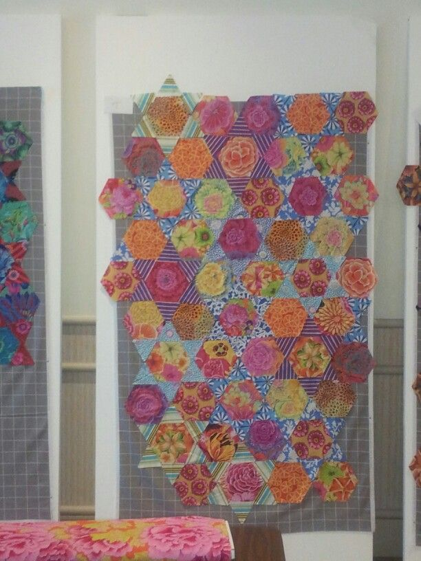 Kaffe Hexagon quilt- a work in progress