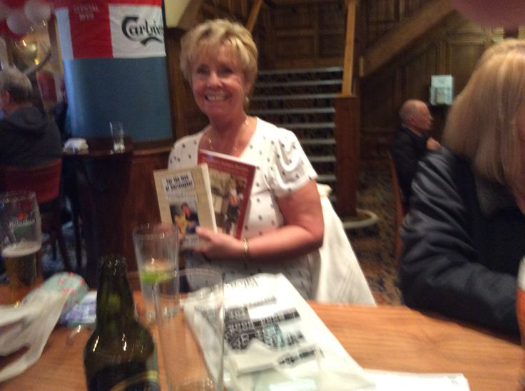 Patricia who is an author at my celebratory drink after my Bolton book launch
