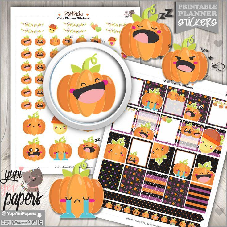 50%OFF - Halloween Stickers, Planner Stickers, Pumpkin Stickers, Printable Planner Stickers, Halloween Planner Stickers, Kawaii Stickers