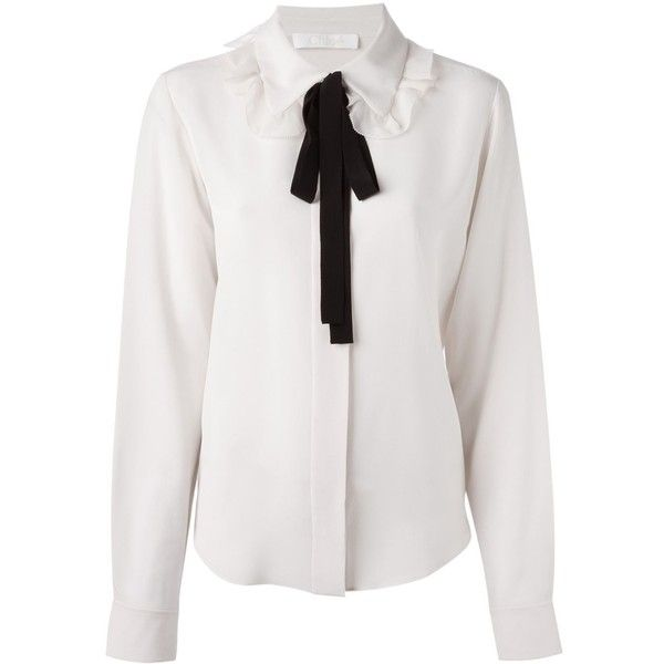 7a5df38b691cd Chloé Contrasted Bow Detail Shirt ( 742) ❤ liked on Polyvore featuring tops
