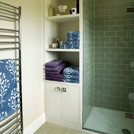 Sage green and cream bathroom featuring an ADIGE Towel Radiator