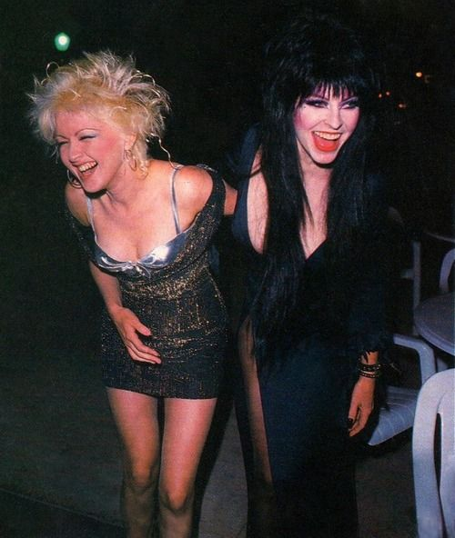 Cyndi Lauper, Elvira - wouldn't ya love to be at a party with them?