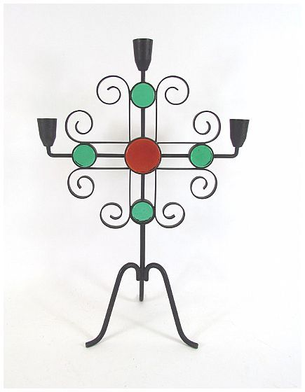 Erik Hoglund; Metal and Glass Candle Holder for Ystad Metall, 1960s.