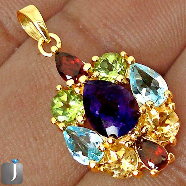 6.15cts NATURAL DIAMOND PURPLE AMETHYST 925 STERLING SILVER PENDANT D17450 #jewelexi #Pendant