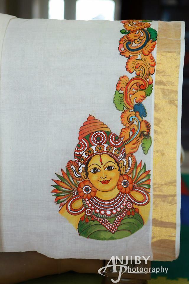 Kerala mural painting on Kasavu Saree