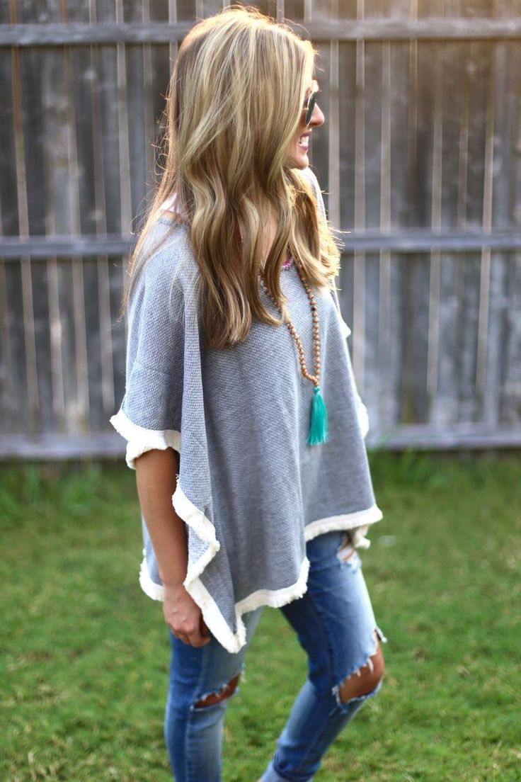 Grey cape sweater with distressed jeans! Comfy and casual for Fall. Get your own personal stylist today with Stitch Fix! Stitch Fix Fall 2016. Stitch Fix Winter 2016.