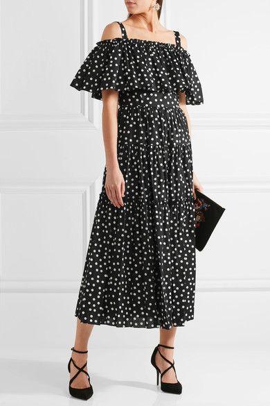 Dolce & Gabbana - Off-the-shoulder Polka-dot Cotton-blend Dress - Black - IT42