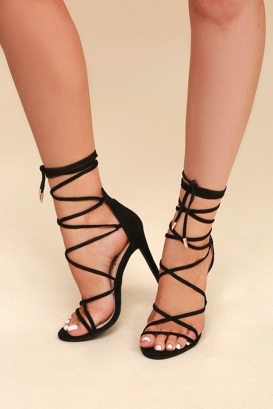 c6fde2e1c70 Sexy Black Heels - Vegan Suede Heels - Lace-Up Heels