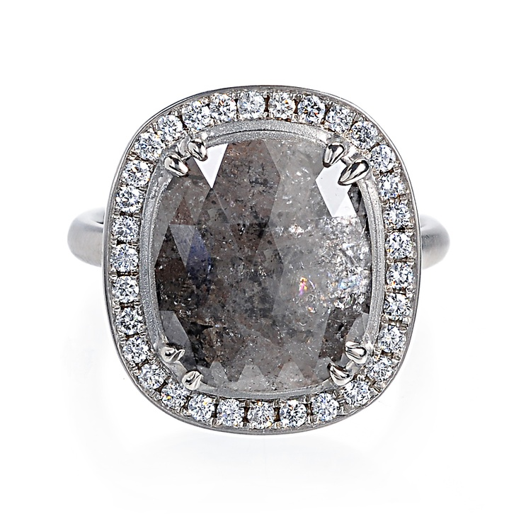 Greenwich Jewelers Anne Sportun Cushion Cut Grey Diamond