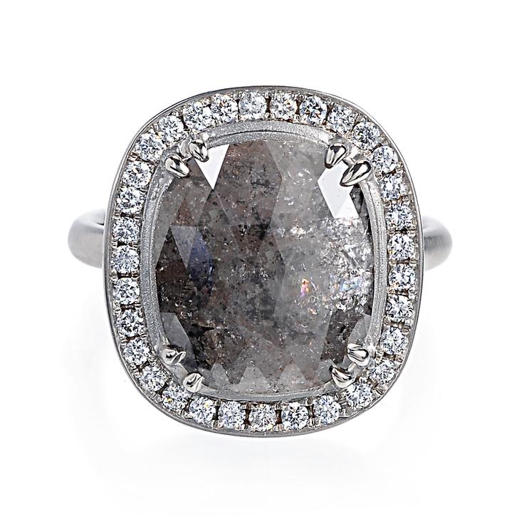 Greenwich Jewelers Anne Sportun Cushion Cut Grey Diamond Ring