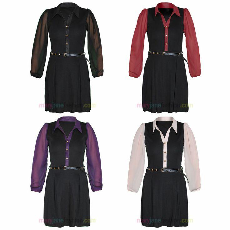 Ladies Studded Formal Work Shirt Blouse Chiffon Sleeve Flared Skater Dress 8-14