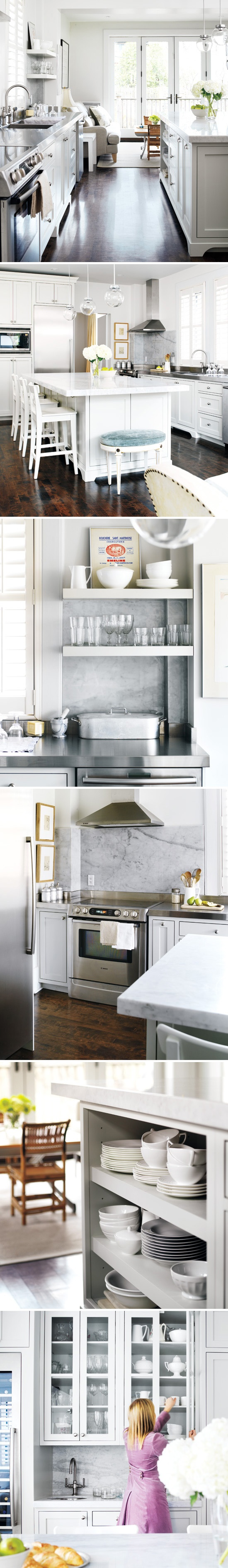 Stylish kitchen w/ great dark wood floors & white marble countertops. Love that island, the light orbs & the little bench. | #kitchen #neutral #styleathome #whites