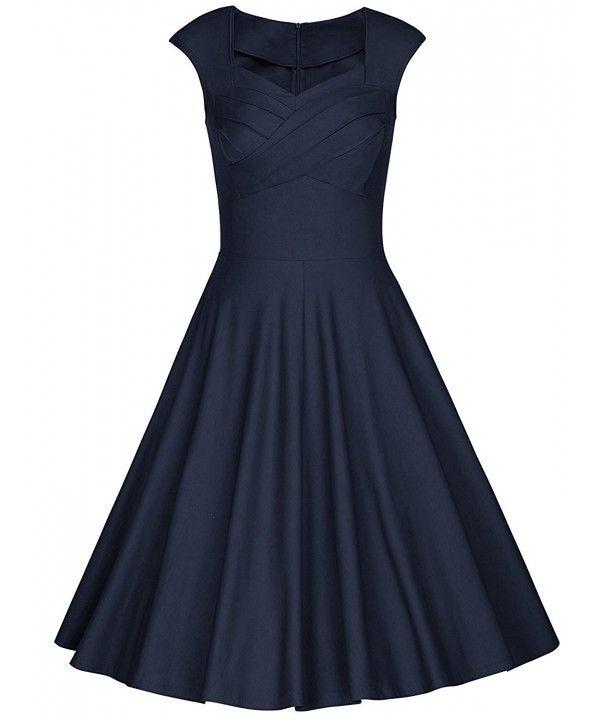 Damen 1950er Jahre Retro Tee Kleid Vintage Cap Sleeve Swing Cocktailkleid – Marineblau – CV12I6IGLMP