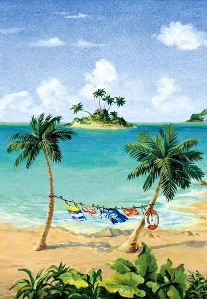 Tropical Scene Clothesline Mural Panel
