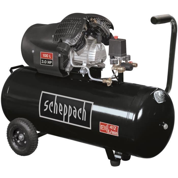 Scheppach Compresseur Horizontal Bi Cylindre Lubrifie 100l 10 Bar 3cv 2 Manometres Et 2 Raccords Rapides Hc110dc Black Edition Compresseur D Air Compresseur Cylindre