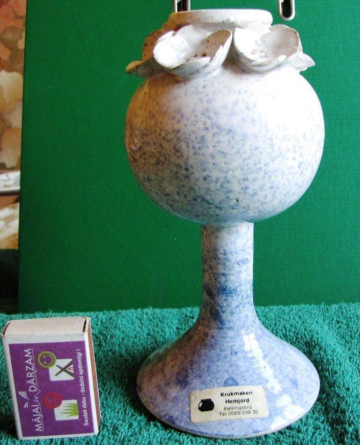 Vintage Krukmakeri Hemjord Sweden Art pottery blue Vase Candle Stick