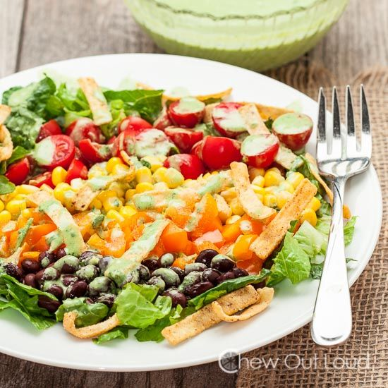 Southwestern Chopped Salad with Creamy Cilantro Lime Dressing - Chew Out Loud