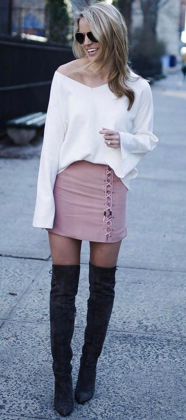 outfit idea top + skirt + over the knee boots