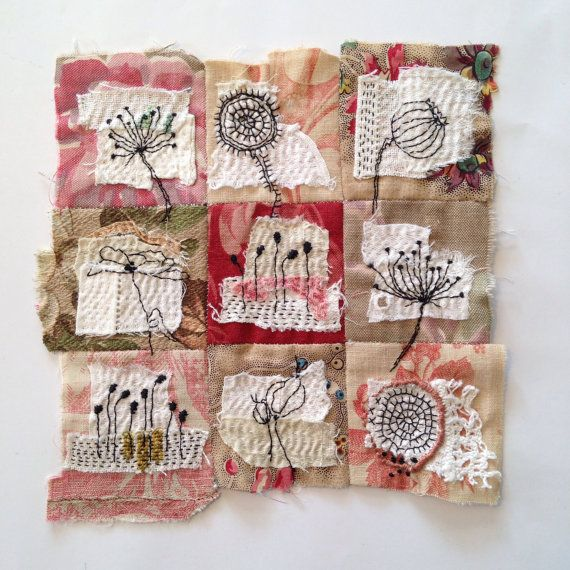 Textile Art Piece  flowers by tinajensenArt on Etsy