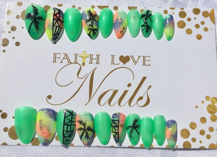 Green Tribal Press On Nails   Palm Tree Nails   False Nails   Reusable Nails   Hand Painted Nail Art   Press On Stiletto Nails by FaithLoveNails on Etsy https://www.etsy.com/listing/530575634/green-tribal-press-on-nails-palm-tree