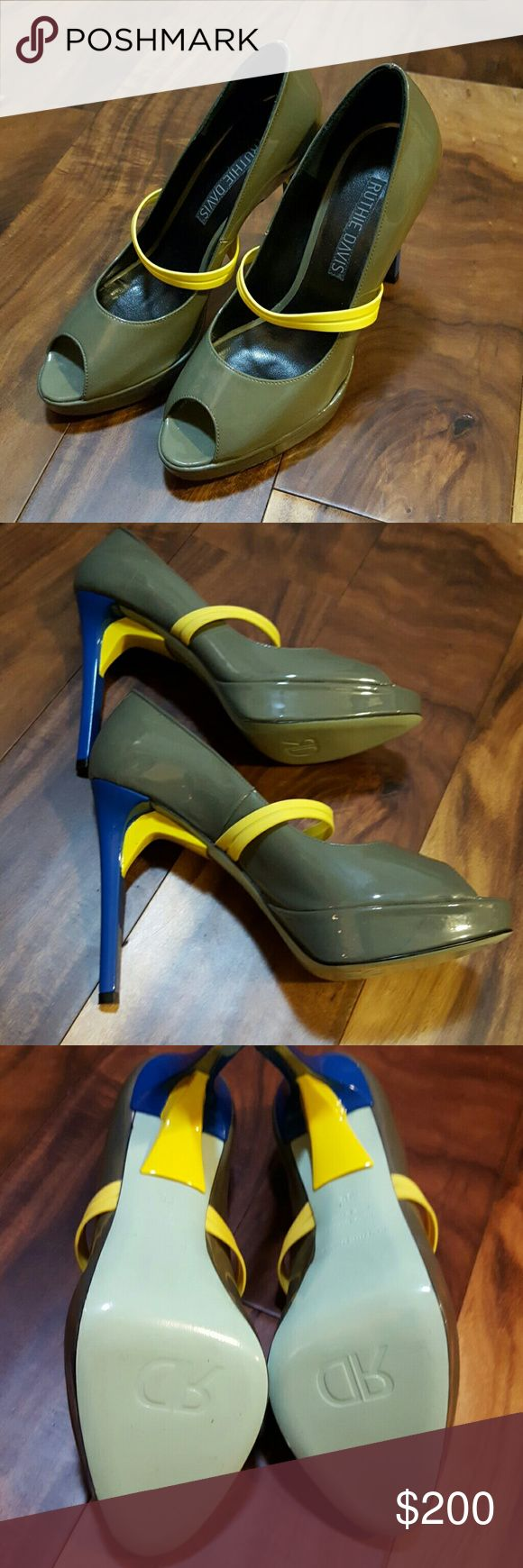 Ruthie Davis Heels SUPER CUTE! ALMOST LIKE NEW!  See photos and ask any questions you would like.  They are an olive green with the yellow and blue accents. Size 36. Ruthie Davis Shoes Heels