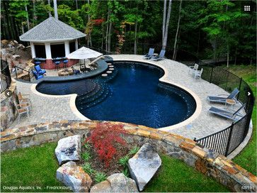 Black Granite Pool Liner Dark Pool Liner And Poolside