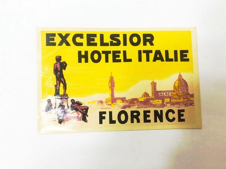 Vintage Travel Luggage Label. Sticker. Paper ephemera. Historical Travel Souvenir Memorabilia. Excelsior Hotel Italie. Florence
