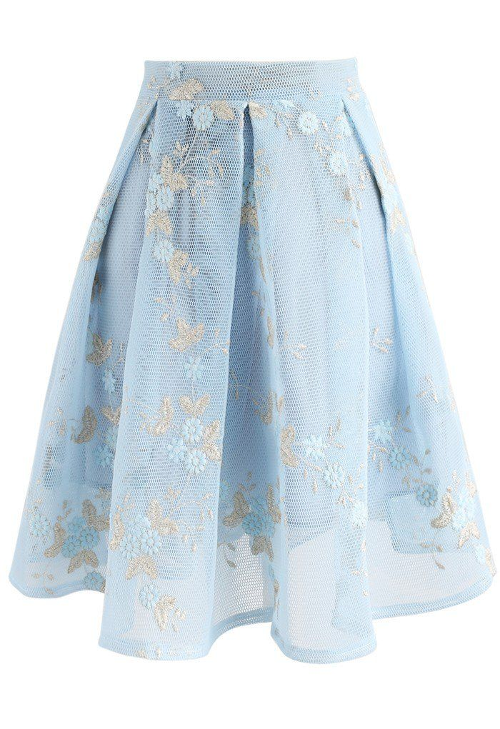 Flowers in Daydream Embroidered Airy Skirt in Light Blue - New Arrivals - Retro, Indie and Unique Fashion