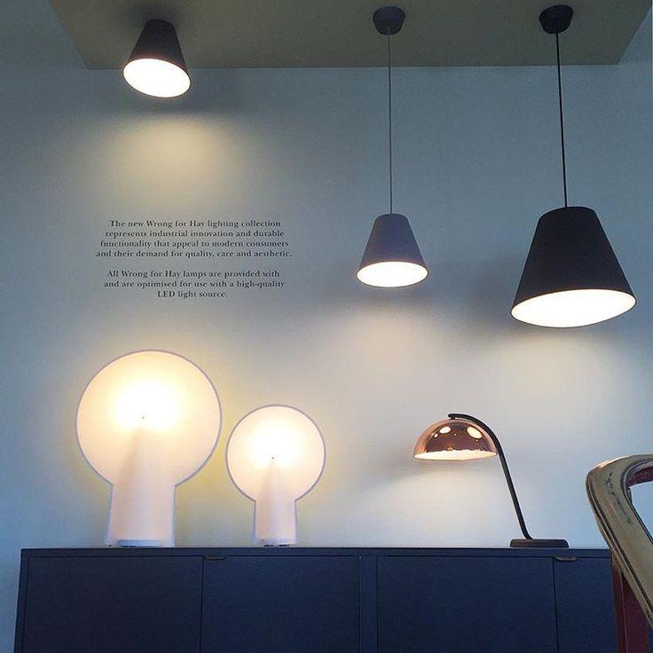 Beautiful lighting display in HAY House - CPH. #HAY #haydesign #WH #wrongforhay #lighting #sinker #cloche #pion #hayhouse #copenhagen #cph #display #design #灯具 #设计 #燈具 #時尚 #設計 #哥本哈根 #时尚