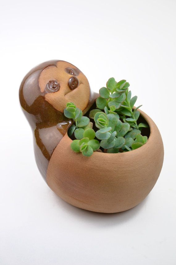 Cute ceramic sloth planter glazed in glossy brown. The sloth is approximately twice as big as the other animal planters (whale, anteater, cabybara,