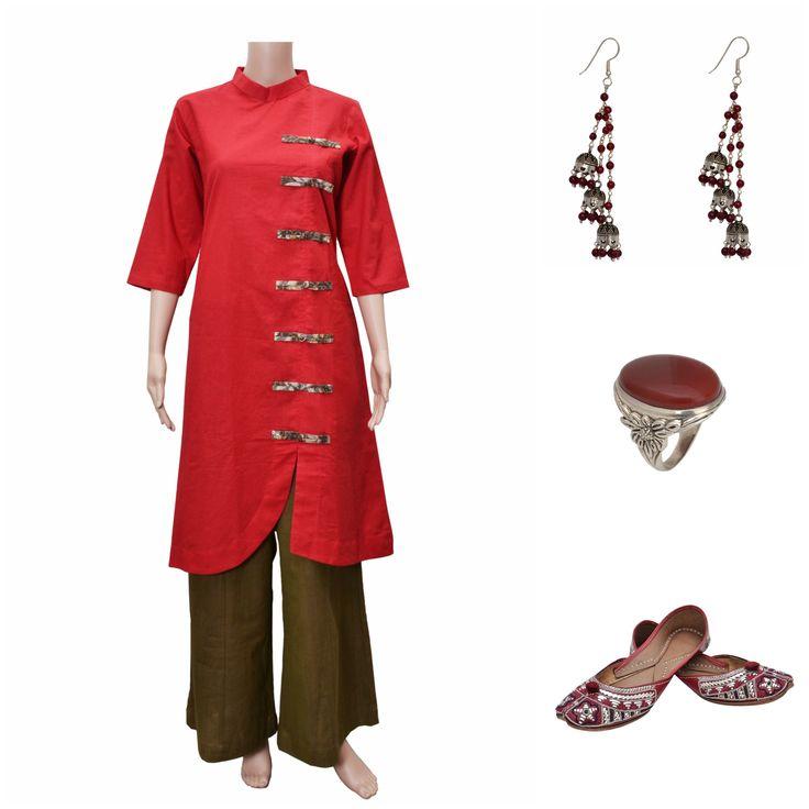 Look gorgeous in Zoyashi's  Khadi attire and match it up with #silver jewelry #blastfromthepast #rockthislookwithzoyashi #BlackisBack #indianwear #kurta #khadi #Zoyashi #keepitsimple #LoveEthnic