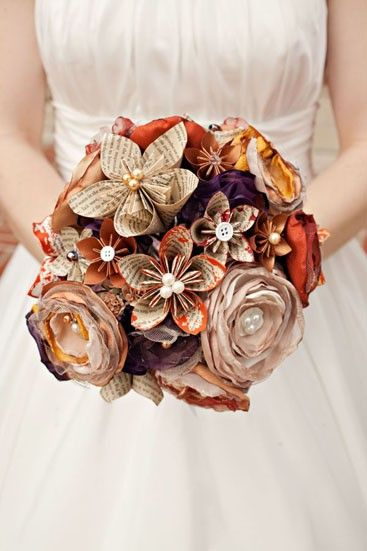 Paper and fabric bouquet with buttons accents