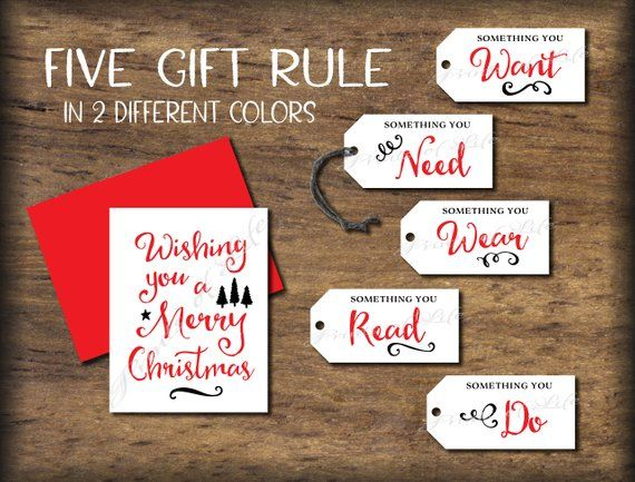 Christmas Tags  Card 5 or 4 Gift Rule Five Four presents Instant