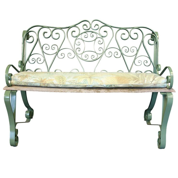 1stdibs | English Garden Bench Of Iron With Scroll Arms
