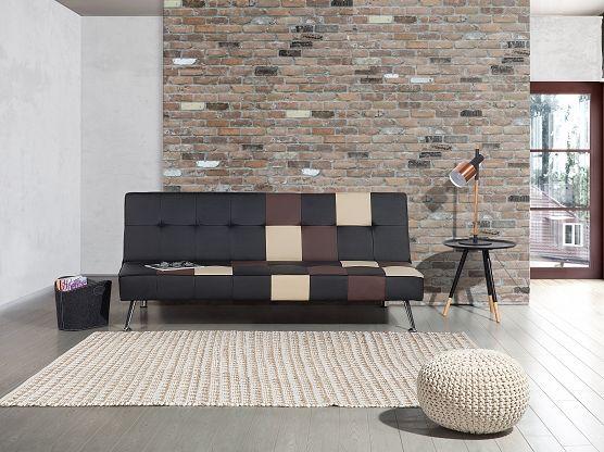 Sofa - Sofa Bed - Coach - Faux Leather Sofa - Patchwork - Black - OLSKER