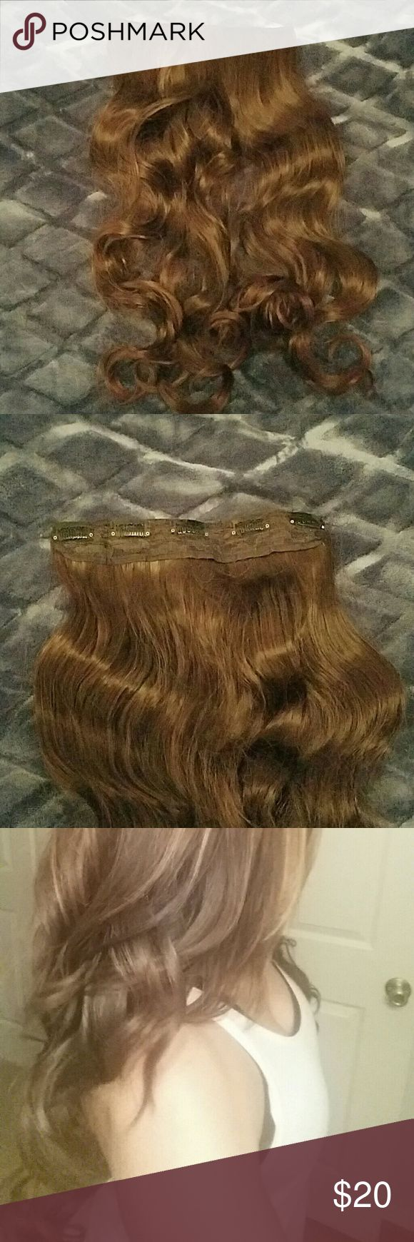 "Hair Fashion Curly Clip In Hair Extensions Length: 20"", perfect for medium brown to ligth brown.    Material:Matt high temperature/Japan high temperature fiber can be used by the curly iron or hair straightner  Item:clip on hair extensions Weight:130 g Other"