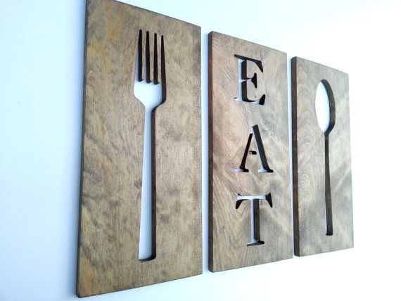 16 Kitchen Art Fork Spoon And Eat Wooden Plaques Home Decor Carved