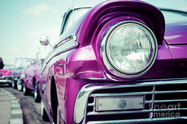 Pink Retro Car by Ekaterina Molchanova  #EkaterinaMolchanova #molchanovafineart #molchanovaphoto #travel #fineartprints #homedecor #landscape #artforhome #cuba #havana #retro #car