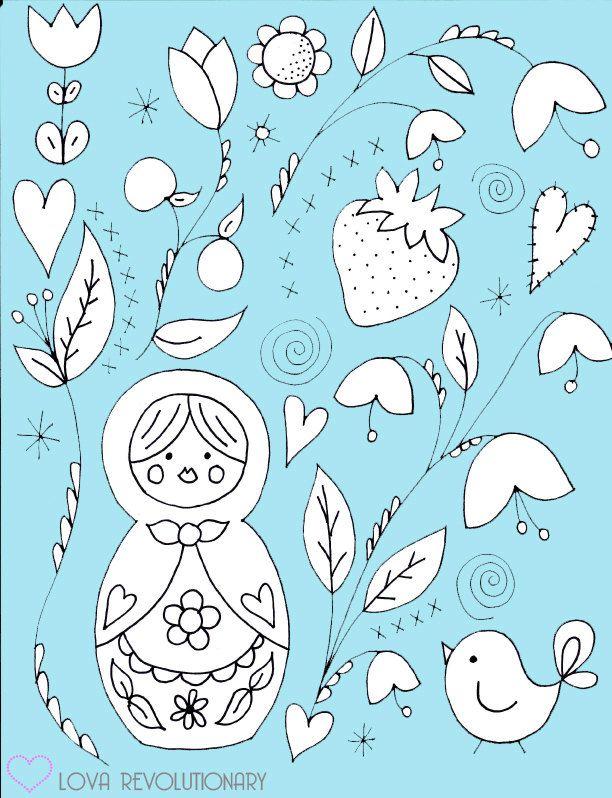 PDF Pattern Nesting Doll Hand Embroidery Matryoshka Russian Flowers Cute. $3.50, via Etsy.