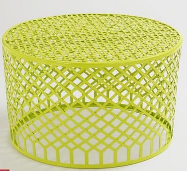 Market Metal Round Mesh Lime Coffee Table Outdoor