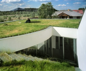 OUTrial House project by KWK Promes. Living roof in Ksiazenice, Poland