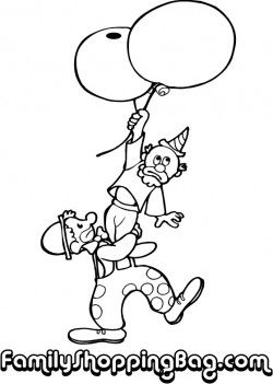 two clowns and balloons coloring pages - Clown Balloons Coloring Page