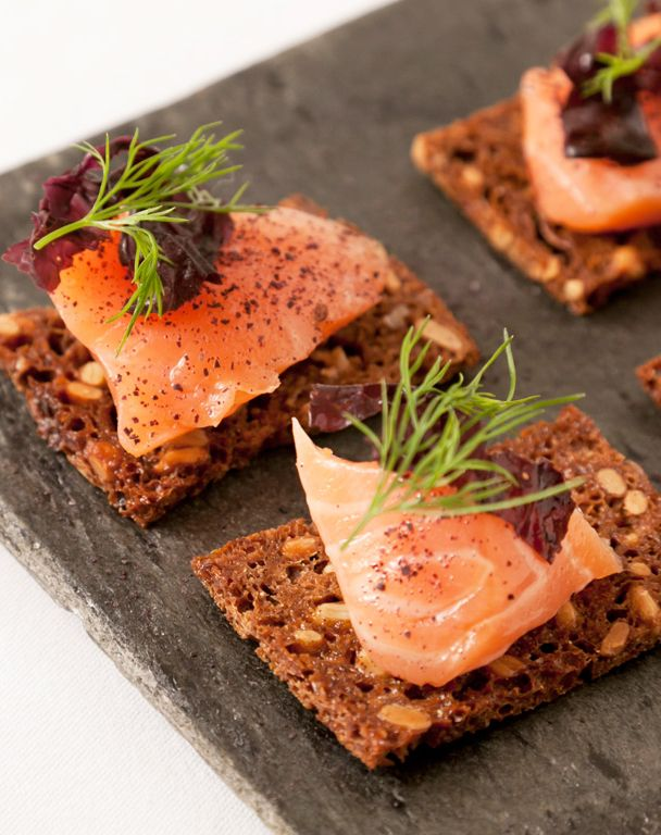 The horseradish and mustard give this salmon canapé a nice, piquant kick. Agnar Sverrisson's salmon gravlax recipe is perfect for parties and events, and it's relatively easy to put together. Agnar Sverrisson recommends using organic Scottish salmon for this elegant seafood canapé.